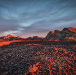 Lava Field from Tiede Volcano in the Sunset HDR